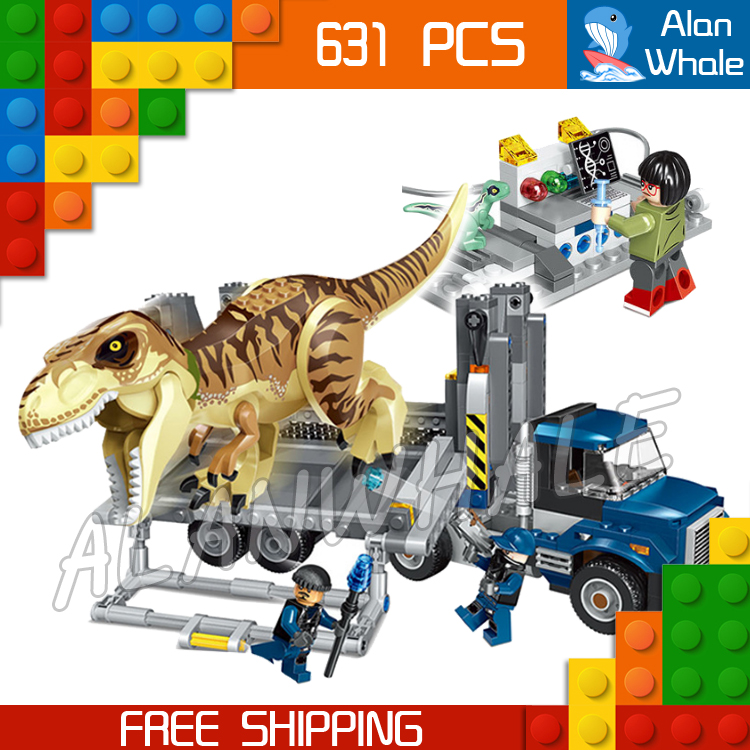 631Pcs Jurassic World T. Rex Transport Truck Dinosaur Tyrannosaurus Rex Figure Building Blocks Toys  Compatible With LegoING-in Blocks from Toys & Hobbies