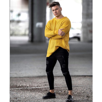 Black Pencil Pants Mens Spring Ripped Draped Jean Trousers Teenager Boy Street Jeans