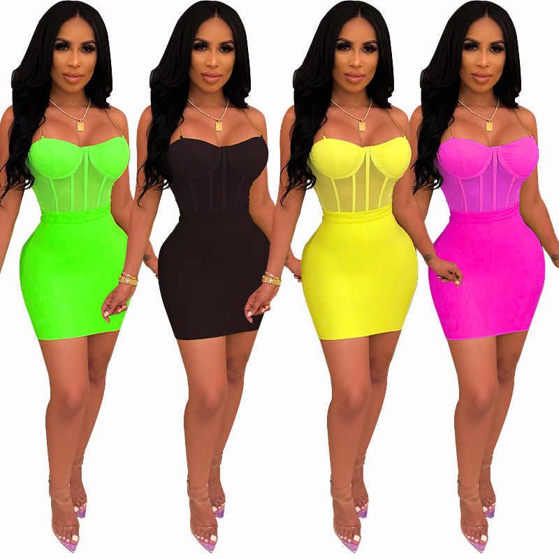 2019 phụ nữ mới LƯỚI MÙA HÈ xem tốt nối dây chuyền spagehtti dây ôm body váy Midi Hai Bộ Đầm H3240