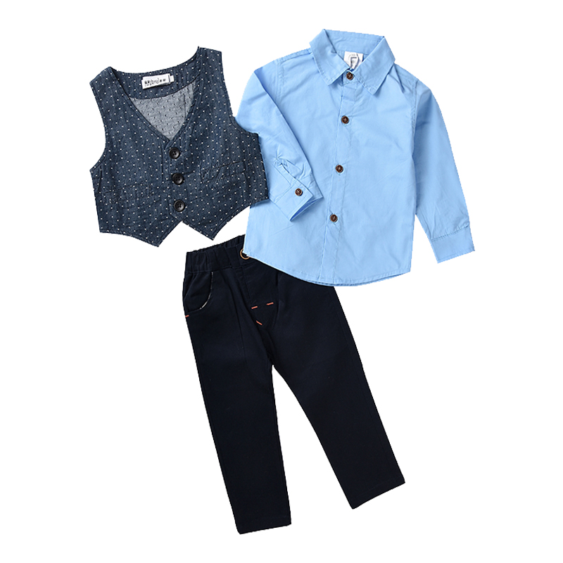 New Fashion Kids Boys Formal Clothes Cotton Shirt +Vest +Trousers For Baby Boy Party Wear Toddler Suit Children's Clothing Set eaboutique new winter boys clothes sports suit fashion letter print cotton baby boy clothing set kids tracksuit