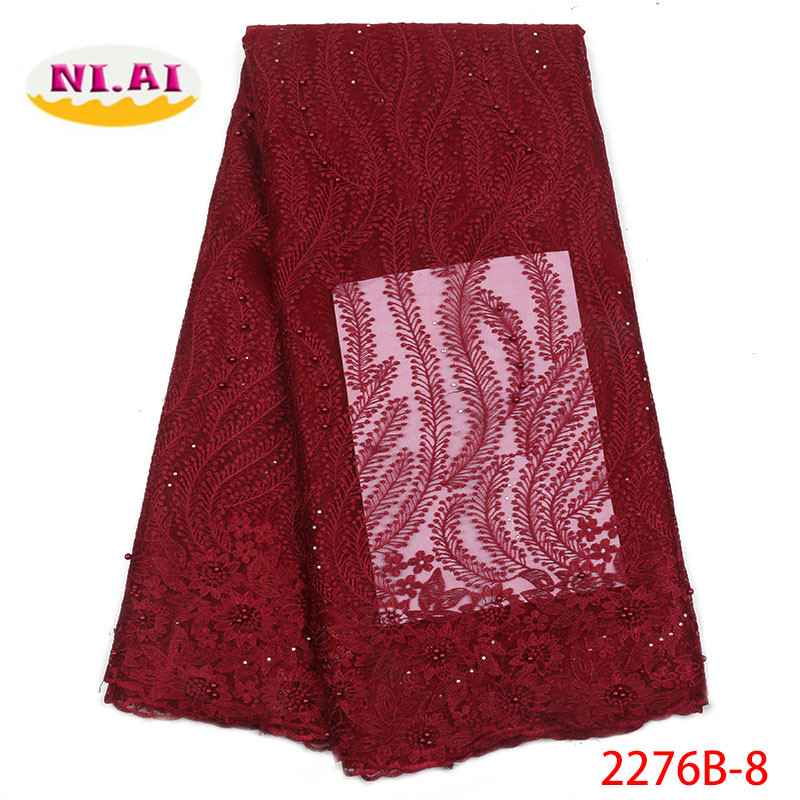 Wine African Beaded Lace Fabric High Quality French Lace Fabric 2018 Nigerian Lace Fabric For Nigerian
