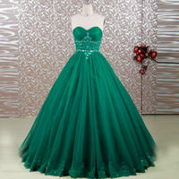 RSE641 Empire Waist Puffy Tulle Long Cheap Green Quinceanera Dresses