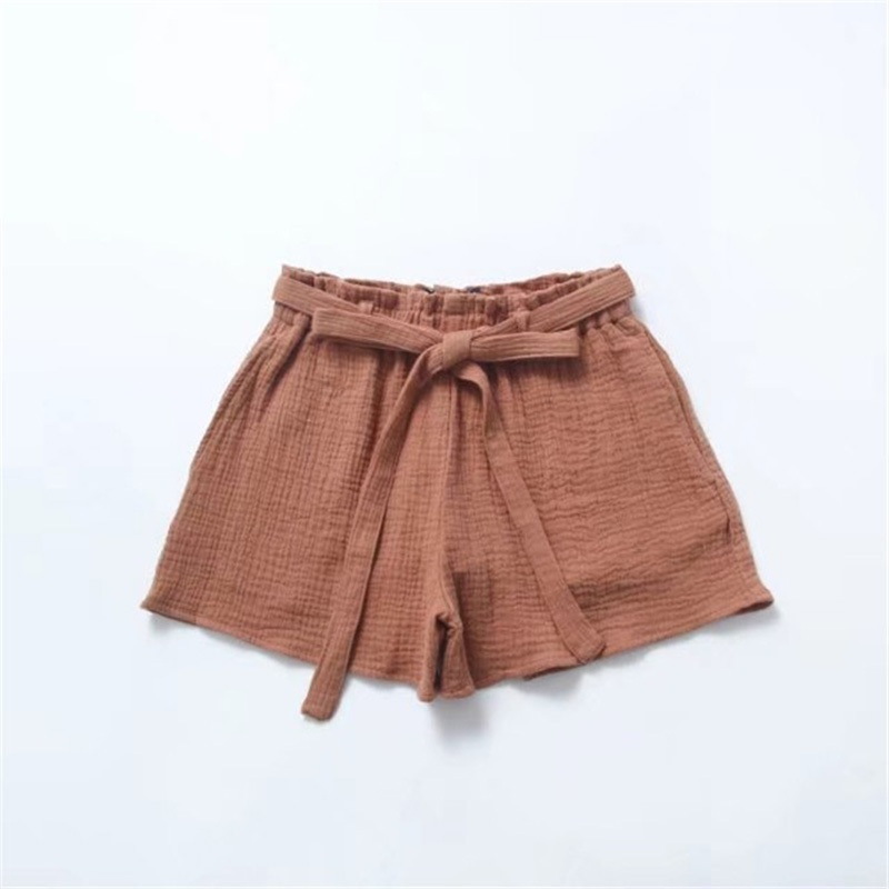 High Waist Sashes Cotton And Line Summer Loose Wide Leg Shorts Women's Casual Elastic Waist Drawstring Short Pants Solid Shorts