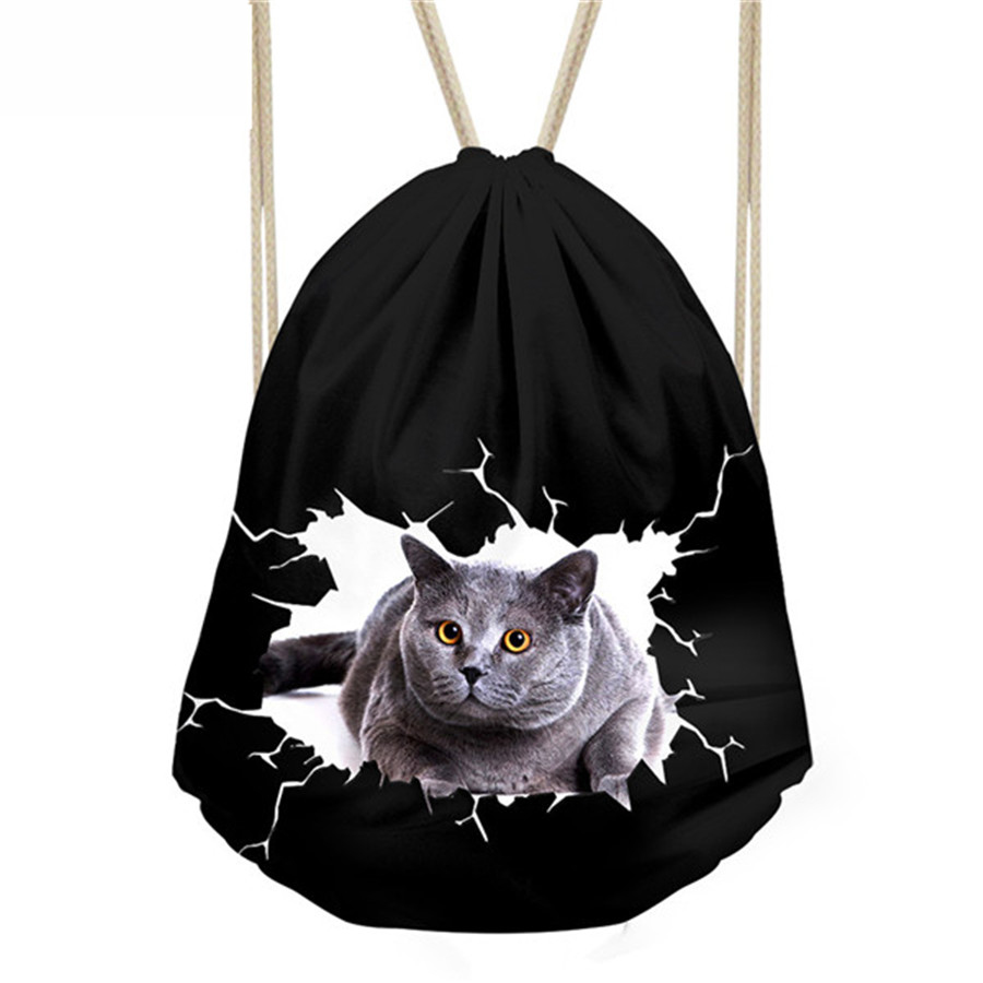 Kids Small Draw String Black Bag Girls School Bags Women Cute Animal Cat Print Drawstring Bag Cinch Backpack Storage Package Bag
