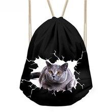 Kids Small Draw String Black Bag Girls School Bags Women Cute Animal Cat Print Drawstring Bag Cinch Backpack Storage Package Bag