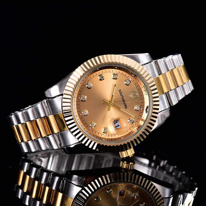 SOUTHBERG złoty srebrny zegarek męskie GMT obrotowy Bezel Sapphire szkło pasek ze stali nierdzewnej sportowy zegarek na rękę kwarcowy reloj relogio