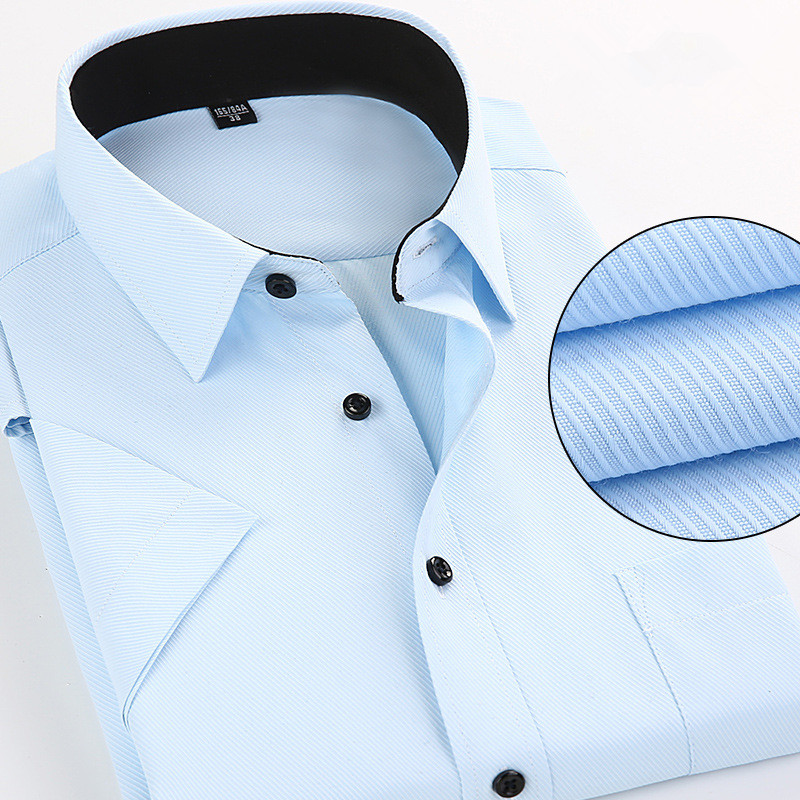 groot formaat 6XL 7XL 8XL Mannen korte mouw Casual hoge kwaliteit Effen kleur Formals overhemd voor herenoverhemden Slim fit