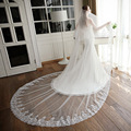 Vintage Lace Bridal veil wedding dress 3m* 3m comb wedding veil ultra soft long lace train wedding accessories