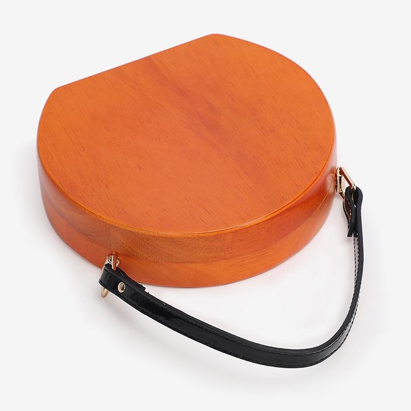Деревянная круглая сумка, женские сумки на цепочке, сумки через плечо, женские вечерние сумки клатчи для вечеринок, дизайнерская сумка через плечо - 4
