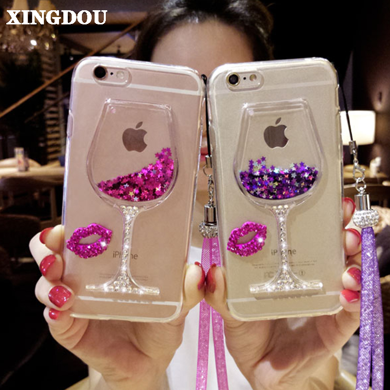 XINGDUO Quicksand Bling Rhinestone Wine Glass Pattern Phone Case with - Mobile Phone Accessories and Parts