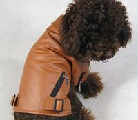 Handsome Dog Jacket Trend Pet Leather Coat Teddy Small Dog Clothes For Autumn Winter Clothing