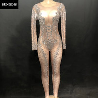 BU251 Women Sexy Skin Color Jumpsuit Sparkling Crystal Bodysuit 3D Printing Chest Nightclub Party Stage Wear Performance Costume