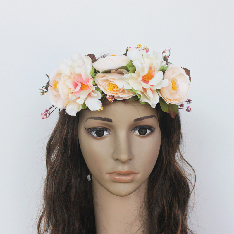 Womens Artificial Flower Wreath Headpiece Crown Flower Floral Garland For Wedding Bridal Deco And Hair Accessories Boho