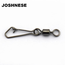 100pcs/lot Stainless Steel MS+QL Fishing Ball Bearing Swivels Interlock Rolling Swivel with Hooked Snap Hook Connector Tackle