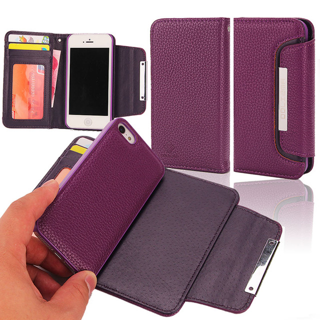 bcaec65bb508 for Apple iPhone 5 5S SE Wallet Case Litchi Patter 2 in 1 Premium Magnetic  TPU Back Cover PU Flip Leather Case Detachable Purse