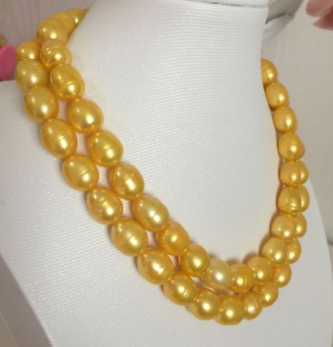 elegant 12-13mm south sea gold baroque pearl neklace 1819>free shipping
