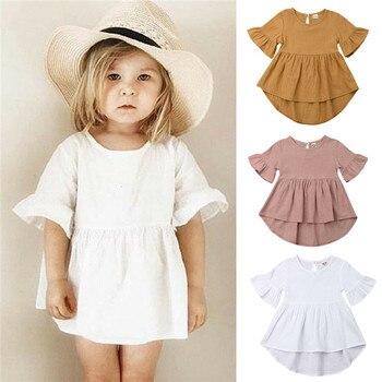 Повседневное детское простое платье для маленьких девочек одежда из хлопка и льна летнее платье с оборками и расклешенными рукавами Асимметричный Однотонный сарафан для девочек От 1 до 5 лет