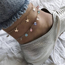 Creative Star Crystal Charm Anklets Bracelets Multi Color Round Wedding Gift For Female