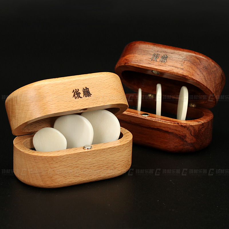 QCYQ Guitar Picks Made Out of Genuine Cow Bone with Wooden Box Gift Set, 3 Pieces of Gui ...