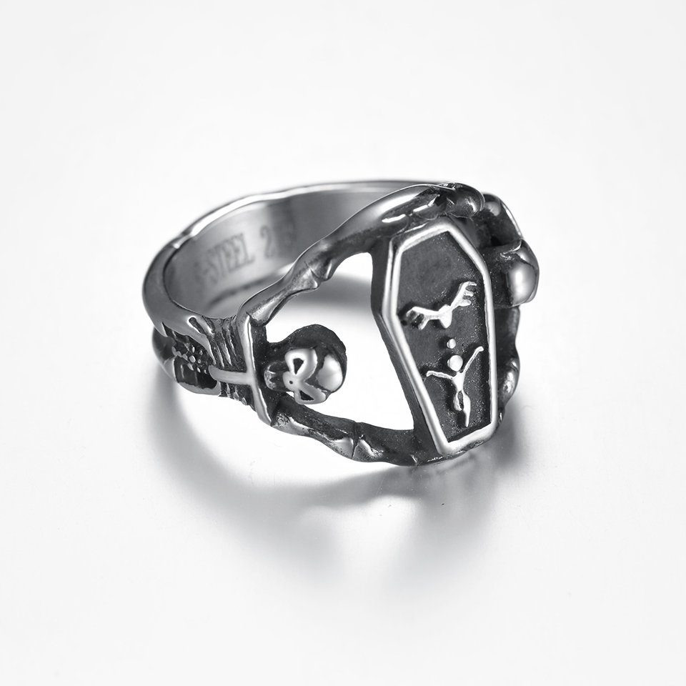 cubic genuine skeleton ring zirconia iced black rings out pin jewelry