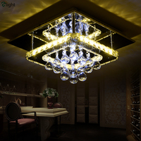 Modern Dimmable Luminaria Corridor K9 Crystal Ceiling Light Plate Steel Led Ceiling Lamp Bedroom Lighting