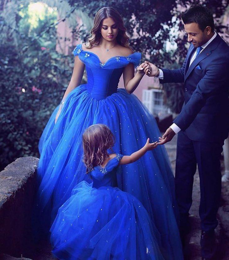 2017 Royal Blue bambin fleur filles robes pour les mariages manches courtes fille fête d'anniversaire robe petites filles reconstitution historique