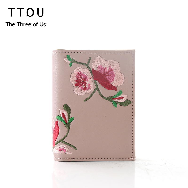 TTOU Embroidery Flower Short Women Wallet Two Fold Small PU Leather Floral Hasp Female Coin Purse Card Holder Monedero Mujer cartoon short wallet pocket monster pokemon satoshi pikachu short wallets two fold purse children wallet gift
