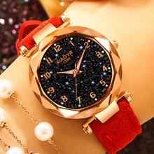 цена на Exquisite Luxury Women Watches Fashion Dress Ladies Watch elegant Starry Sky Dial Leather Strap Quartz Wristwatch Clock Women