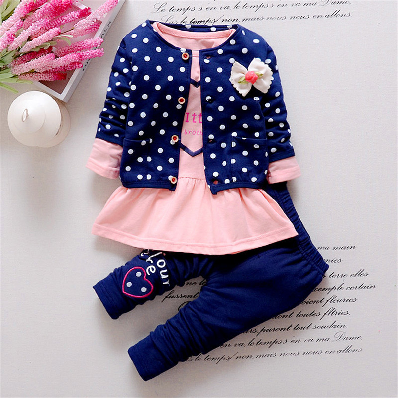 BibiCola New Spring Kids 3pcs Clothing Sets fashion girls cartoon clothes set Polka Dot jacket +long sleeve shirt+pant suit set