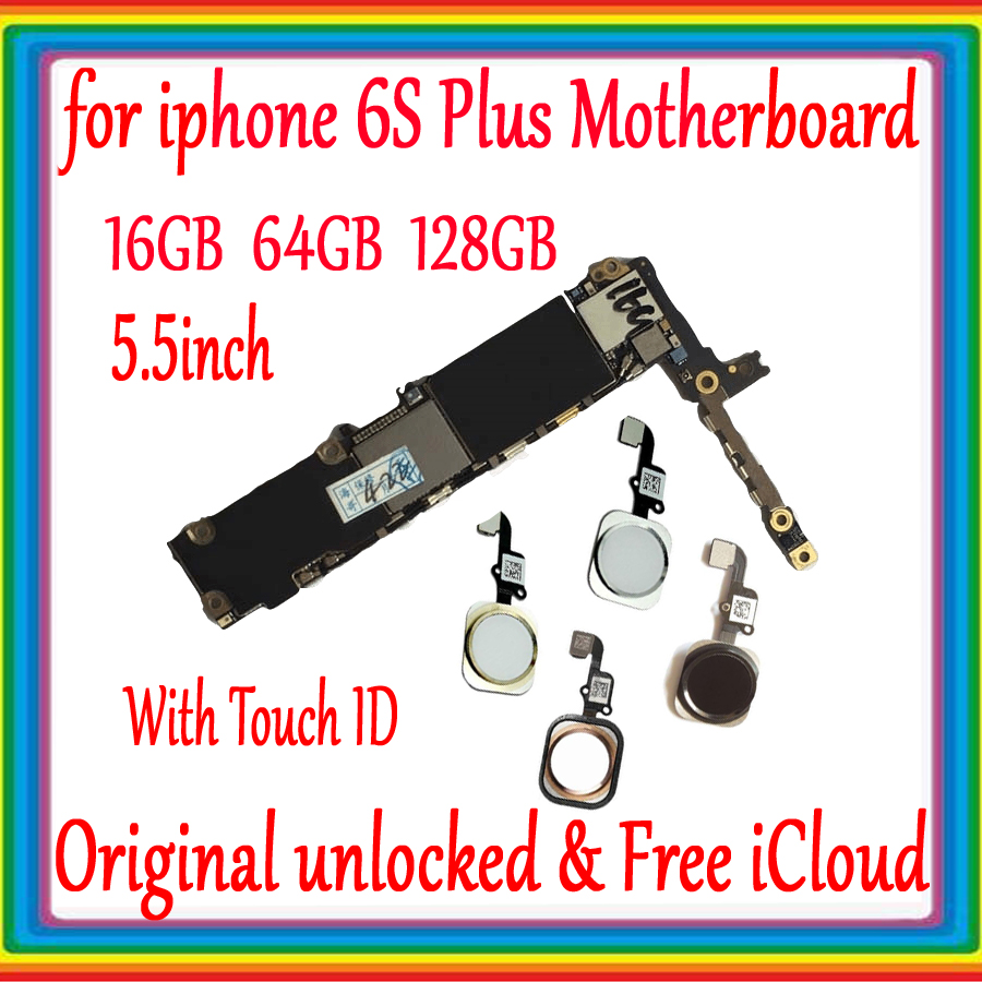 For <font><b>IPhone</b></font> <font><b>6S</b></font> Plus Motherboard With Touch ID <font><b>Unlock</b></font> Disassembly Mainboard Good Working <font><b>Logic</b></font> <font><b>Board</b></font> Tested Full Function image