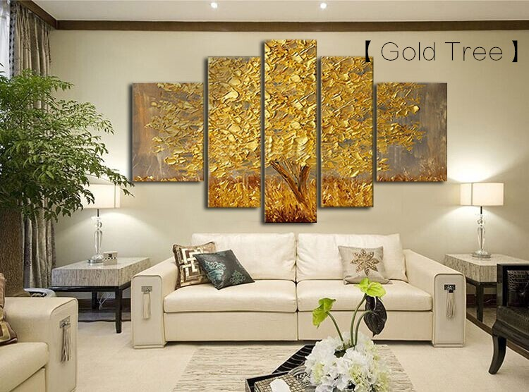 5 Panels Abstract Gold Tree Oil Painting Palette Knife