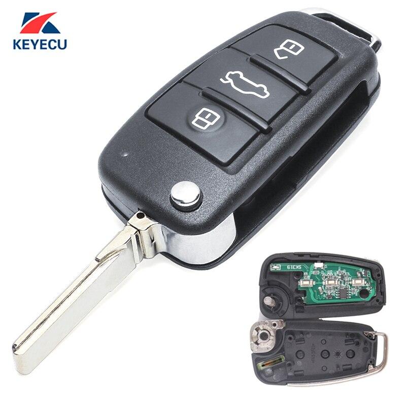 KEYECU remplacement Flip télécommande voiture clé Fob 3 bouton pour Audi A4 Quattro RS4 S4 2005-2009 8E0 837 220Q/220 K/220D 433 MHz ID48