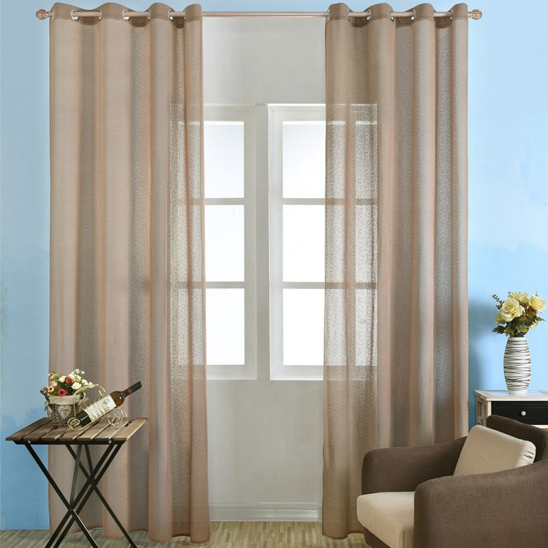 Solid Color Window Curtains Lace Living Room Rod Pocket