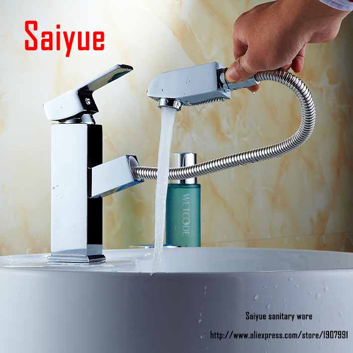 Bathroom faucet Pull out down Spout Spray head brass basin mixer water tap Chrome Finished mixer