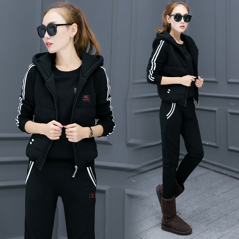 Casual 3 Piece Set Tracksuit Women Clothes new 2019 autumn and Winter fashion Ladies Thicken Sweat Suits tracksuit women