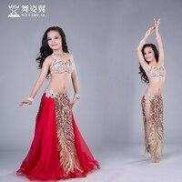 Newest Arrival high grade kid girls Bellydance performance Costume Wuchieal Belly Dance Sexy top bra+skirt 2pcs suits RT182