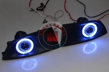 drl daytime running light CCFL angel eye(6 colors) + halogen fog lamp + projector lens for Nissan Sylphy sentra bluebird 2007-11
