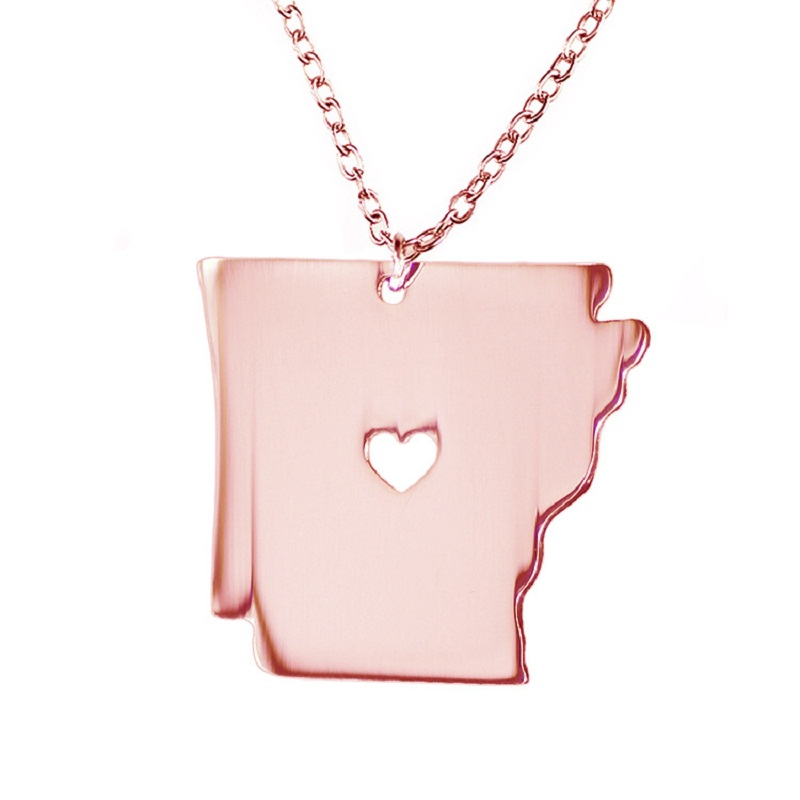 5PCS Newly American State Arkansas Necklace 316 Stainless Steel Heart Map Necklace 3Colors