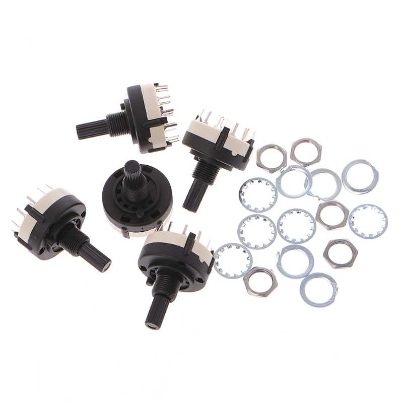 OOTDTY 5 Pcs 4P3T 4 Pole 3 Position 6mm Shaft Diameter Band Selector Rotary Switch