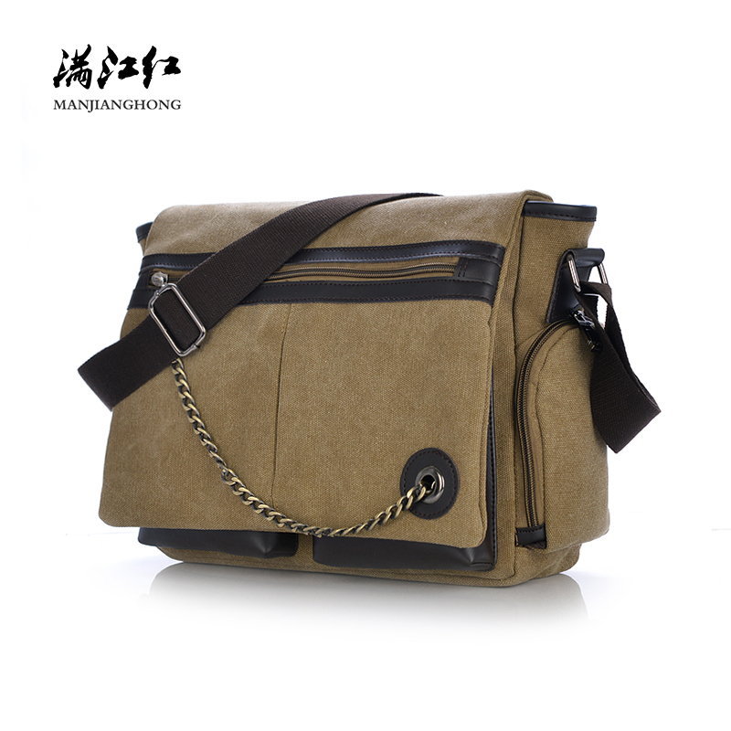 Fashion Men Shoulder Bag Canvas Casual Male Messenger Laptop Bag Men Chain Design Leisure Crossbody Bags For Men Satchel 1170 stylish metal and canvas design satchel for women