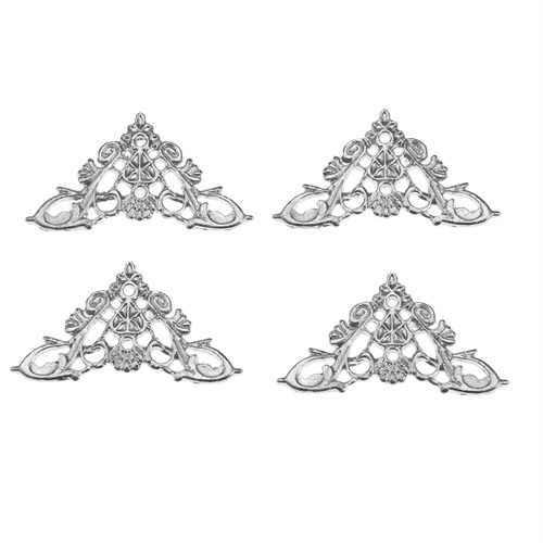 DRELD 4 Pcs ריהוט פינת סוגריים דקורטיבי תכשיטי אריזת מתנה אלבום רגליים רגל פינת מגן ריהוט בית דקור 35/46mm