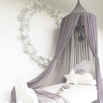 Wisząca pościel dziecięca okrągła kopuła dekoracja łóżka baldachim moskitiera zasłona przeciw komarom łóżko domowe łóżeczko namiot wiszący kopuła romantyczny tanie i dobre opinie Jednodrzwiowe Łóżko falbany circular Domu Canopy Mosquito Net Wisiał dome moskitiera Składane 100 bawełna