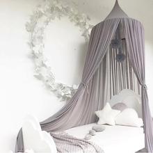 Wisząca pościel dziecięca okrągła kopuła dekoracja łóżka baldachim moskitiera zasłona przeciw komarom łóżko domowe łóżeczko namiot wiszący kopuła romantyczny tanie tanio Jednodrzwiowe Łóżko falbany circular Domu Canopy Mosquito Net Wisiał dome moskitiera Składane 100 bawełna