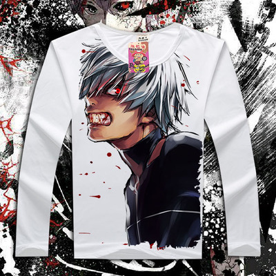 Full Print Tokyo Ghoul T-Shirt White Color Full Sleeve Anime Tokyo Ghoul tshirt Jack T Shirt Top Tees For Men Women