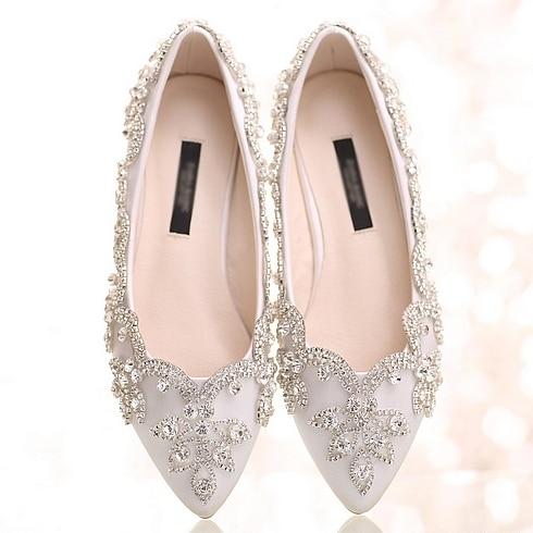 White crystal flats women wedding flats pointed toe white wedding shoes flat  heel rhinestone shoes women white Pu leather shoes