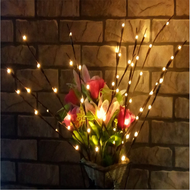 5 Branches Artificial Led Willow Branch Lamp Fl Lights Christmas Decorations For Home New Year Babyshower J