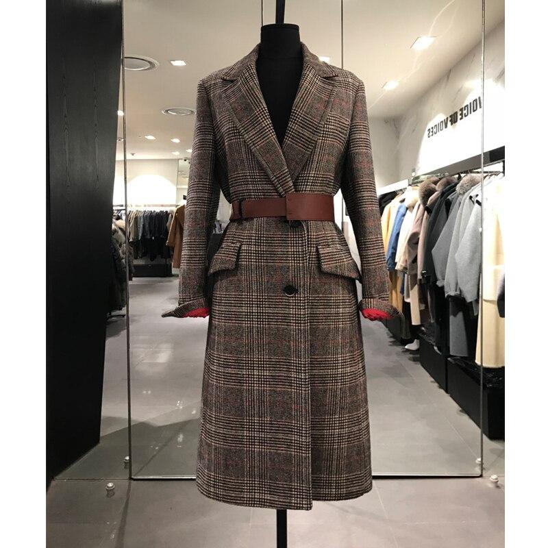 Automne down Plaid Mode Collar Femmes Manteau Poitrine Unique Turn Veste 2018 Épaisse Longue Laine De X0wX7qdI