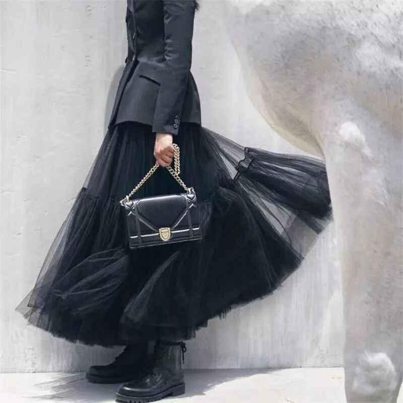 Steampunk 4 capas negro Maxi falda larga de tul gótico plisado tutú Faldas Mujer Vintage Lolita enaguas lange rok jupes falda