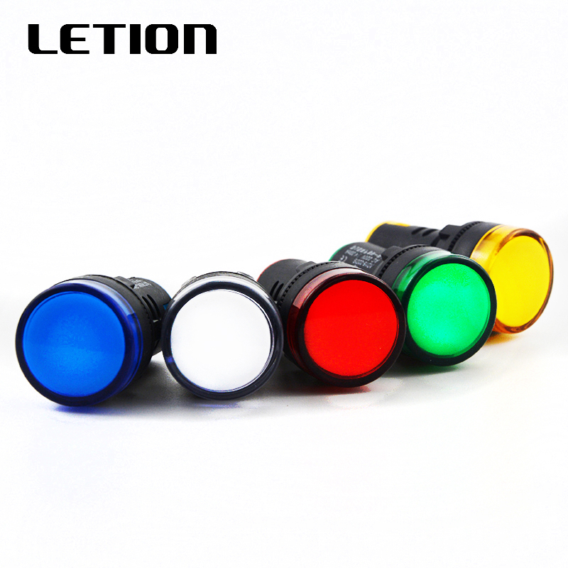 1pcs 12V 24V 220V 22mm Panel Mount LED Power Indicator Pilot Signal Light Lamp LETION AD16-22DS