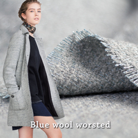 150cm Width 480g M Shining Weave Warm Gray Blue Wool Fabric For Coat In Autumn And